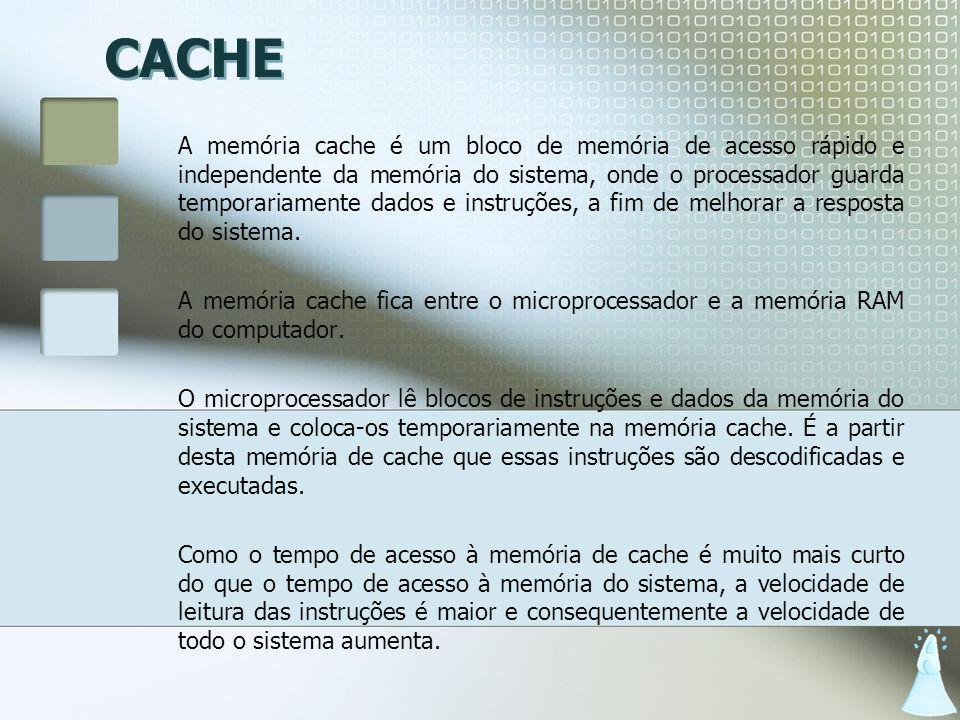 CACHE A memória cache é um bloco de memória de acesso rápido e independente da memória do sistema, onde o processador guarda temporariamente dados e i