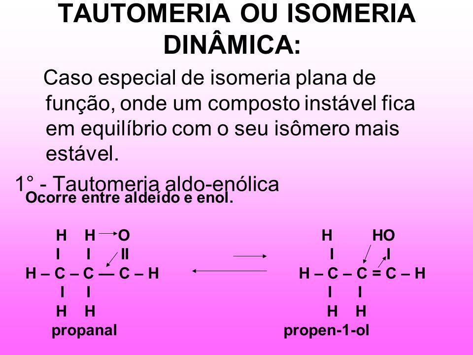 TAUTOMERIA OU ISOMERIA DINÂMICA: Caso especial de isomeria plana de função, onde um composto instável fica em equilíbrio com o seu isômero mais estável.