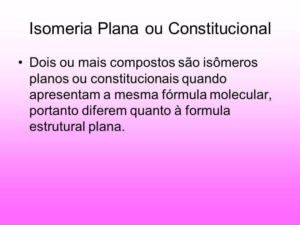 Isomeria Plana ou Constitucional Dois ou mais compostos são isômeros planos ou constitucionais quando apresentam a mesma fórmula molecular, portanto diferem quanto à formula estrutural plana.