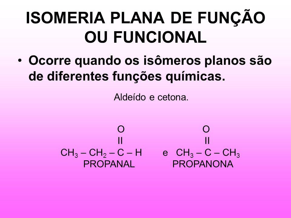 ISOMERIA PLANA DE FUNÇÃO OU FUNCIONAL Ocorre quando os isômeros planos são de diferentes funções químicas.