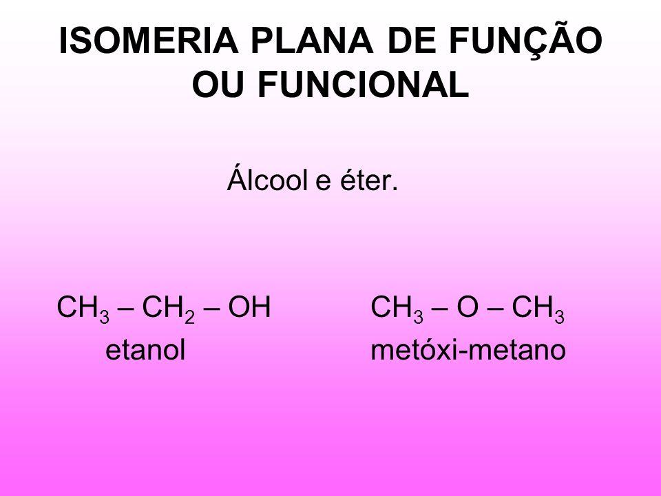ISOMERIA PLANA DE FUNÇÃO OU FUNCIONAL Álcool e éter.