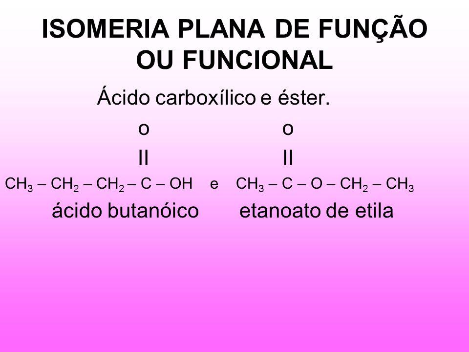 ISOMERIA PLANA DE FUNÇÃO OU FUNCIONAL Ácido carboxílico e éster.