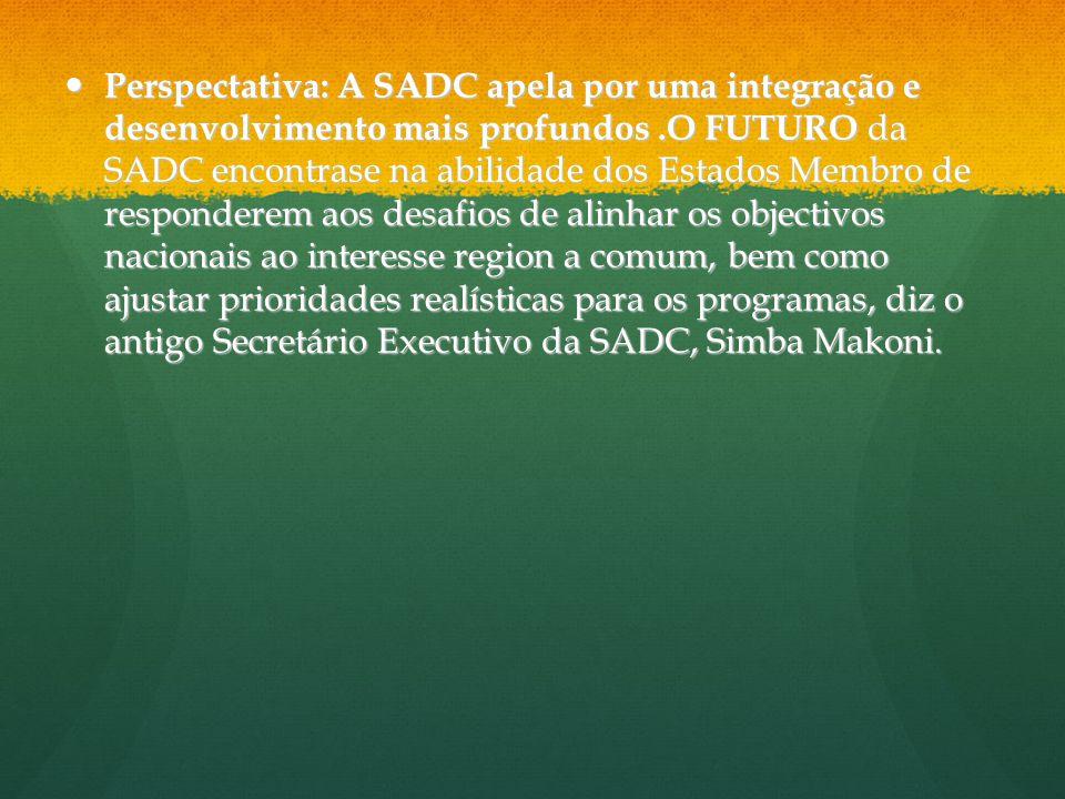 Perspectativa: A SADC apela por uma integração e desenvolvimento mais profundos.O FUTURO da SADC encontrase na abilidade dos Estados Membro de respond