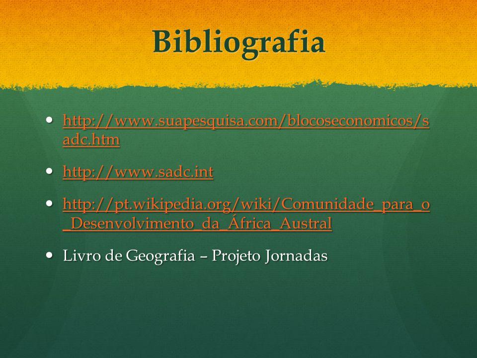 Bibliografia http://www.suapesquisa.com/blocoseconomicos/s adc.htm http://www.suapesquisa.com/blocoseconomicos/s adc.htm http://www.suapesquisa.com/bl