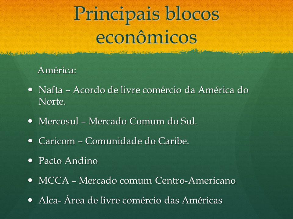 Principais blocos econômicos América: América: Nafta – Acordo de livre comércio da América do Norte. Nafta – Acordo de livre comércio da América do No