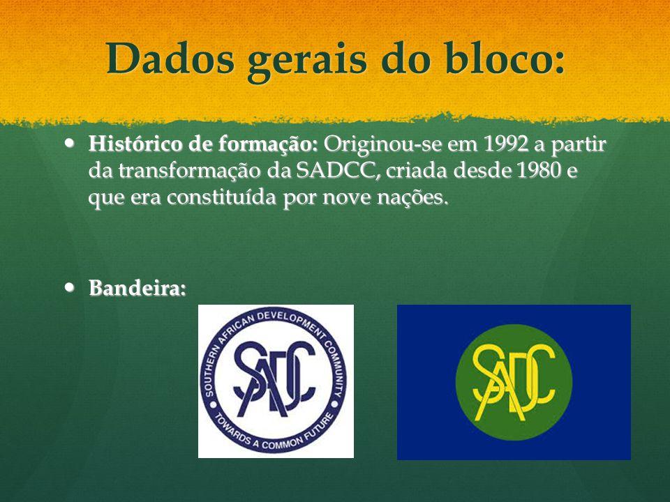 Dados gerais do bloco: Histórico de formação: Originou-se em 1992 a partir da transformação da SADCC, criada desde 1980 e que era constituída por nove