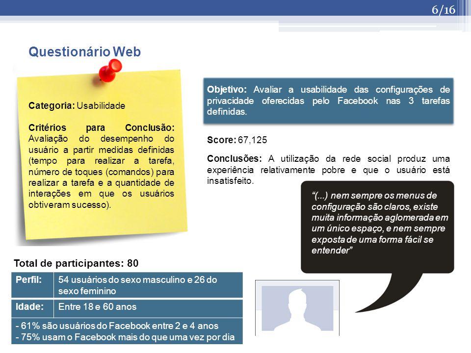 (...) nem sempre os menus de configuração são claros, existe muita informação aglomerada em um único espaço, e nem sempre exposta de uma forma fácil se entender Objetivo: Avaliar a usabilidade das configurações de privacidade oferecidas pelo Facebook nas 3 tarefas definidas.