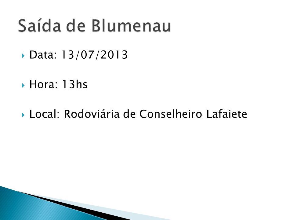 Data: 13/07/2013 Hora: 13hs Local: Rodoviária de Conselheiro Lafaiete