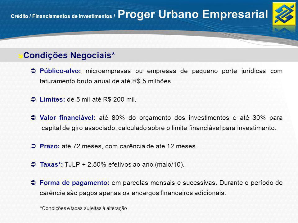 Público-alvo: microempresas ou empresas de pequeno porte jurídicas com faturamento bruto anual de até R$ 5 milhões Limites: de 5 mil até R$ 200 mil. V