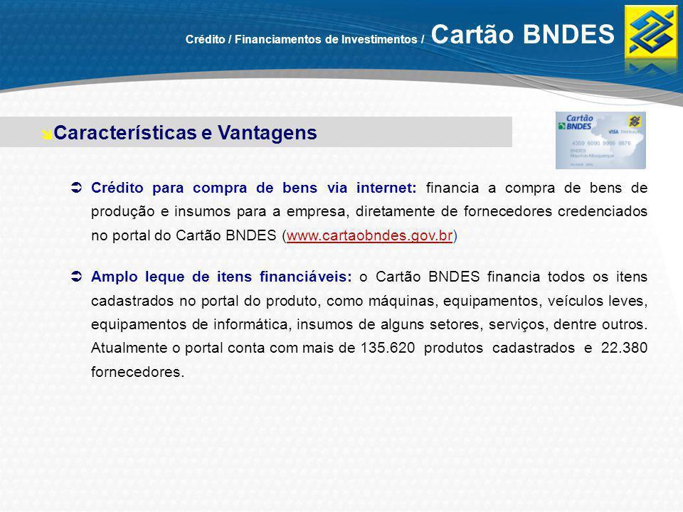 Crédito / Financiamentos de Investimentos / Cartão BNDES Crédito para compra de bens via internet: financia a compra de bens de produção e insumos par