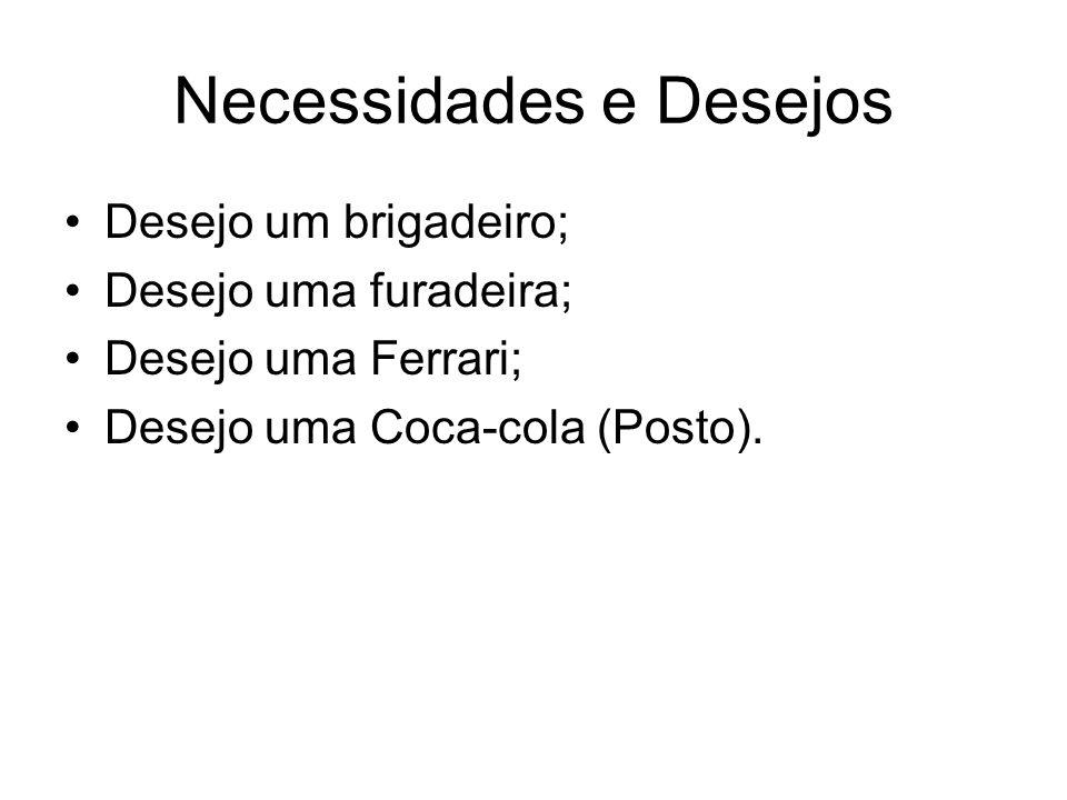 Necessidades e Desejos Desejo um brigadeiro; Desejo uma furadeira; Desejo uma Ferrari; Desejo uma Coca-cola (Posto).