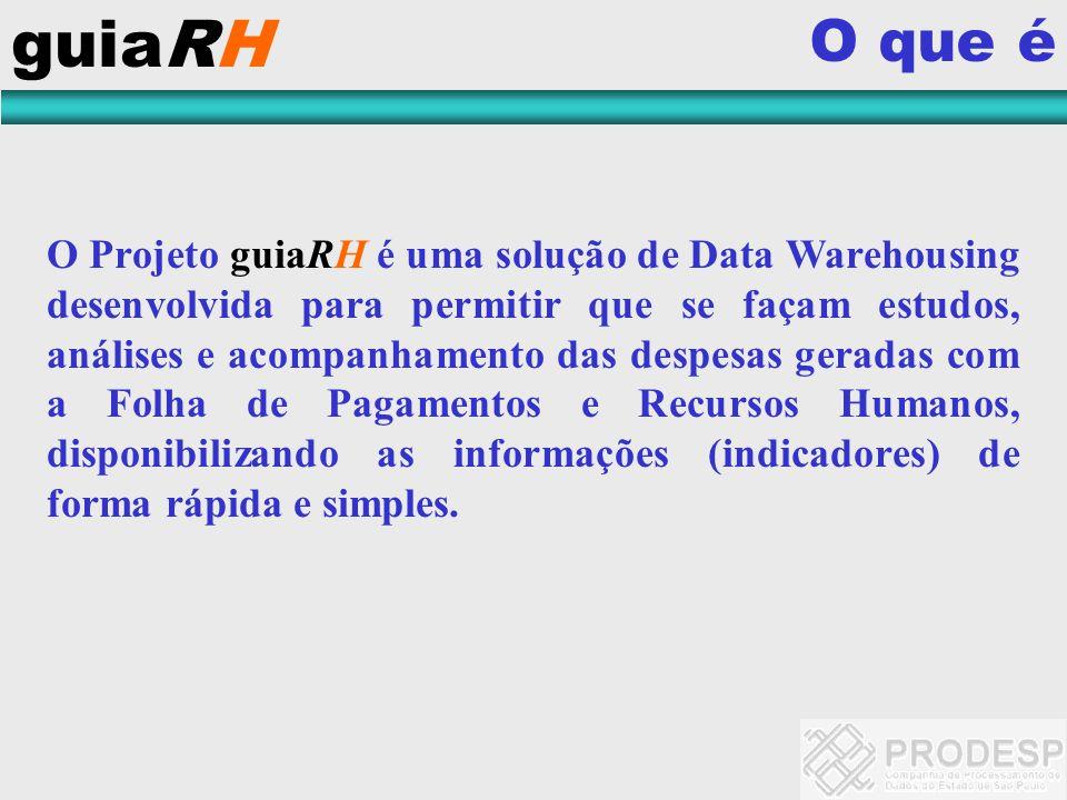 guiaRH O que é O Projeto guiaRH é uma solução de Data Warehousing desenvolvida para permitir que se façam estudos, análises e acompanhamento das despe
