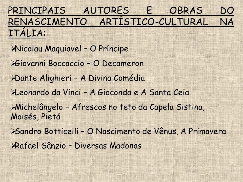FATORES DO PIONEIRISMO ITALIANO NO RENASCIMENTO: Desenvolvimento comercial de suas cidades; Mecenato (burguesia incentivadora e protetora das artes);