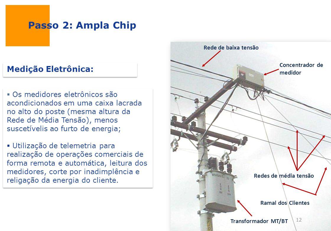 Passo 2: Ampla Chip Os medidores eletrônicos são acondicionados em uma caixa lacrada no alto do poste (mesma altura da Rede de Média Tensão), menos su