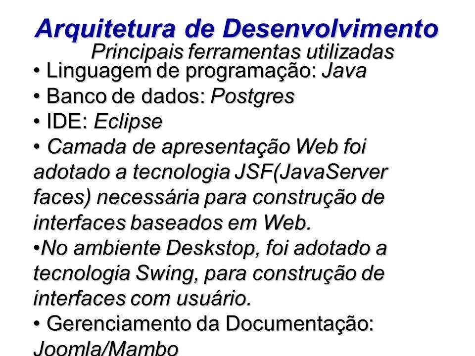 Arquitetura de Desenvolvimento Principais ferramentas utilizadas Principais ferramentas utilizadas Linguagem de programação: Java Linguagem de program
