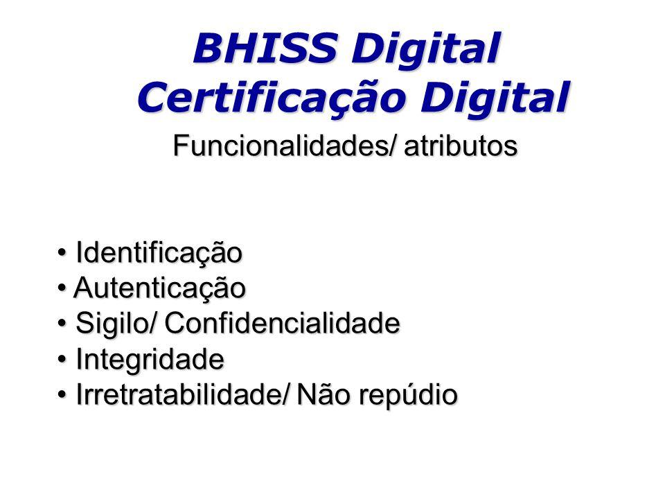 BHISS Digital Certificação Digital Funcionalidades/ atributos Identificação Identificação Autenticação Autenticação Sigilo/ Confidencialidade Sigilo/