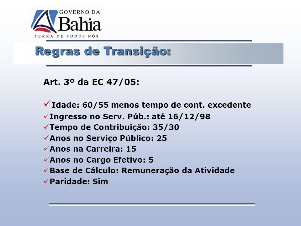 Regras de Transição: Regras de Transição: Art. 3º da EC 47/05: Idade: 60/55 menos tempo de cont. excedente Ingresso no Serv. Púb.: até 16/12/98 Tempo