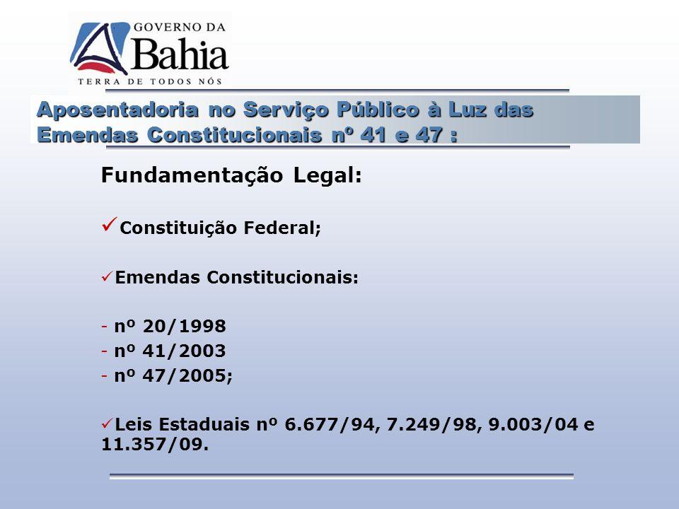 Aposentadoria no Serviço Público à Luz das Emendas Constitucionais nº 41 e 47 : Fundamentação Legal: Constituição Federal; Emendas Constitucionais: -