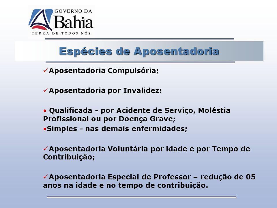 Espécies de Aposentadoria Aposentadoria Compulsória; Aposentadoria por Invalidez: Qualificada - por Acidente de Serviço, Moléstia Profissional ou por