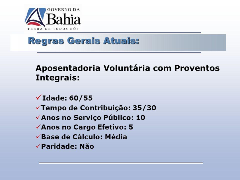 Regras Gerais Atuais: Regras Gerais Atuais: Aposentadoria Voluntária com Proventos Integrais: Idade: 60/55 Tempo de Contribuição: 35/30 Anos no Serviç
