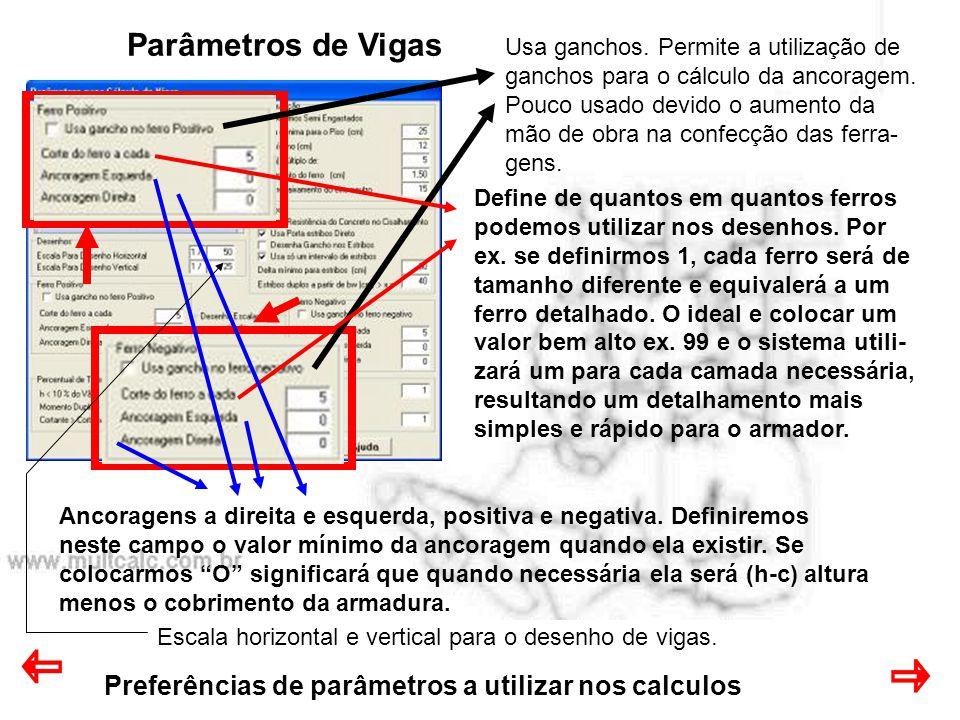 Preferências de parâmetros a utilizar nos calculos Parâmetros de Vigas Usa ganchos. Permite a utilização de ganchos para o cálculo da ancoragem. Pouco