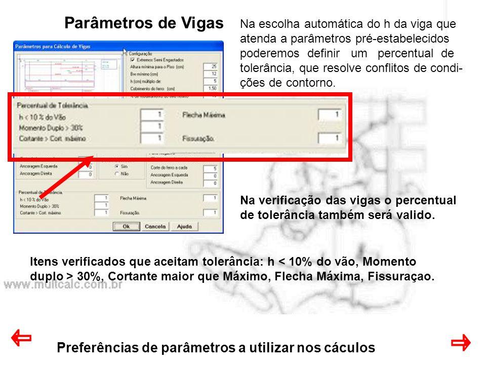 Preferências de parâmetros a utilizar nos cáculos Parâmetros de Vigas Na escolha automática do h da viga que atenda a parâmetros pré-estabelecidos pod