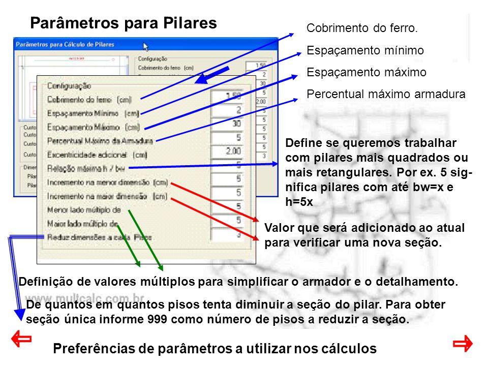Preferências de parâmetros a utilizar nos cálculos Parâmetros para Pilares Cobrimento do ferro. Espaçamento mínimo Espaçamento máximo Percentual máxim