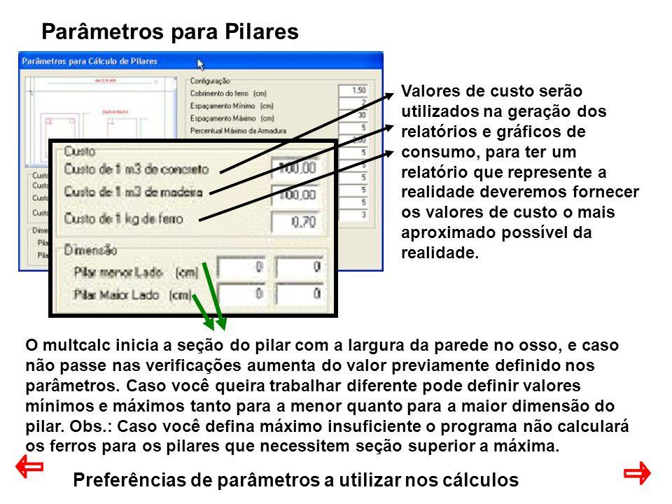 Preferências de parâmetros a utilizar nos cálculos Parâmetros para Pilares Valores de custo serão utilizados na geração dos relatórios e gráficos de c