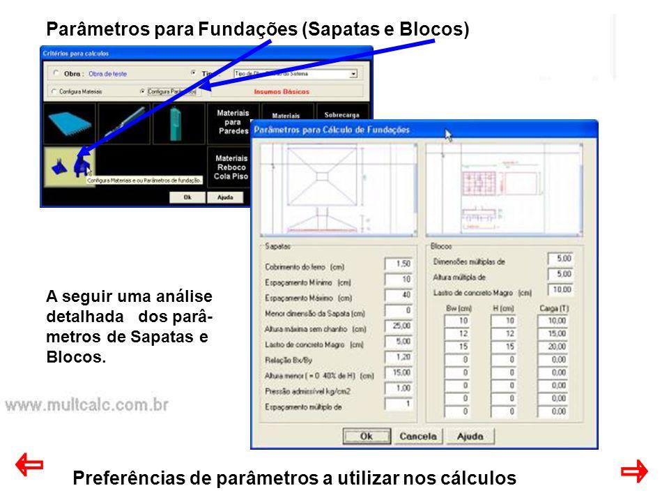 Preferências de parâmetros a utilizar nos cálculos Parâmetros para Fundações (Sapatas e Blocos) A seguir uma análise detalhada dos parâ- metros de Sap