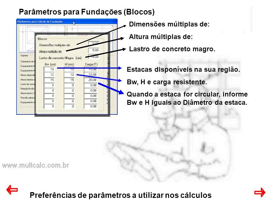 Preferências de parâmetros a utilizar nos cálculos Parâmetros para Fundações (Blocos) Dimensões múltiplas de: Altura múltiplas de: Lastro de concreto