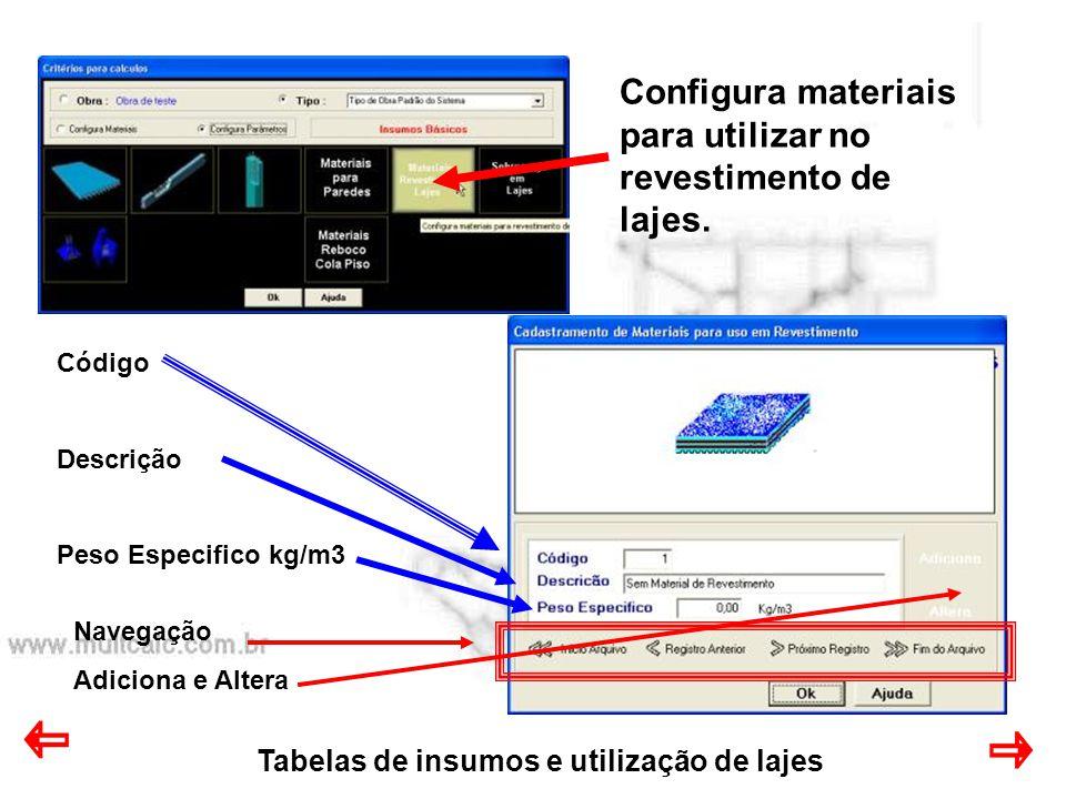 Tabelas de insumos e utilização de lajes Configura materiais para utilizar no revestimento de lajes. Código Descrição Peso Especifico kg/m3 Navegação
