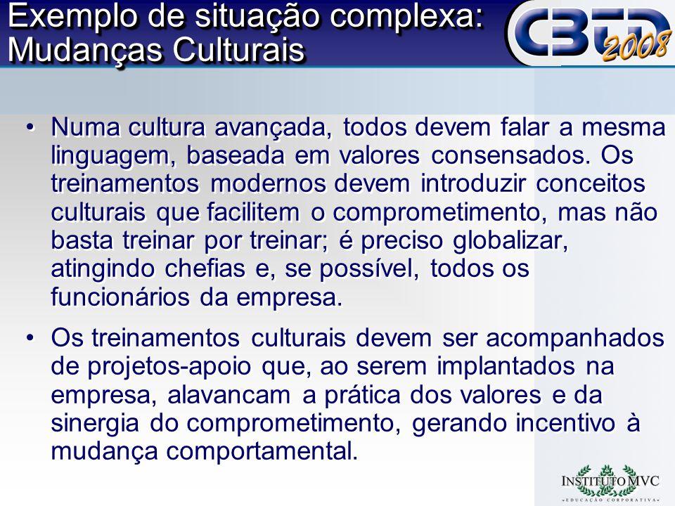Exemplo de situação complexa: Mudanças Culturais Numa cultura avançada, todos devem falar a mesma linguagem, baseada em valores consensados.
