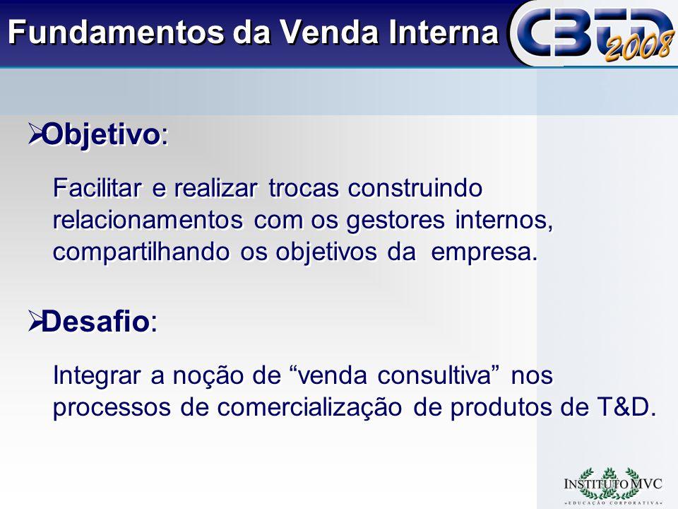 Fundamentos da Venda Interna Objetivo: Facilitar e realizar trocas construindo relacionamentos com os gestores internos, compartilhando os objetivos da empresa.