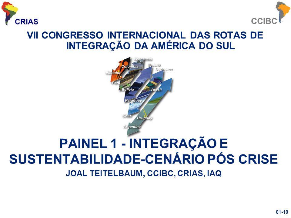 VII CONGRESSO INTERNACIONAL DAS ROTAS DE INTEGRAÇÃO DA AMÉRICA DO SUL PAINEL 1 - INTEGRAÇÃO E SUSTENTABILIDADE-CENÁRIO PÓS CRISE JOAL TEITELBAUM, CCIBC, CRIAS, IAQ 01-10