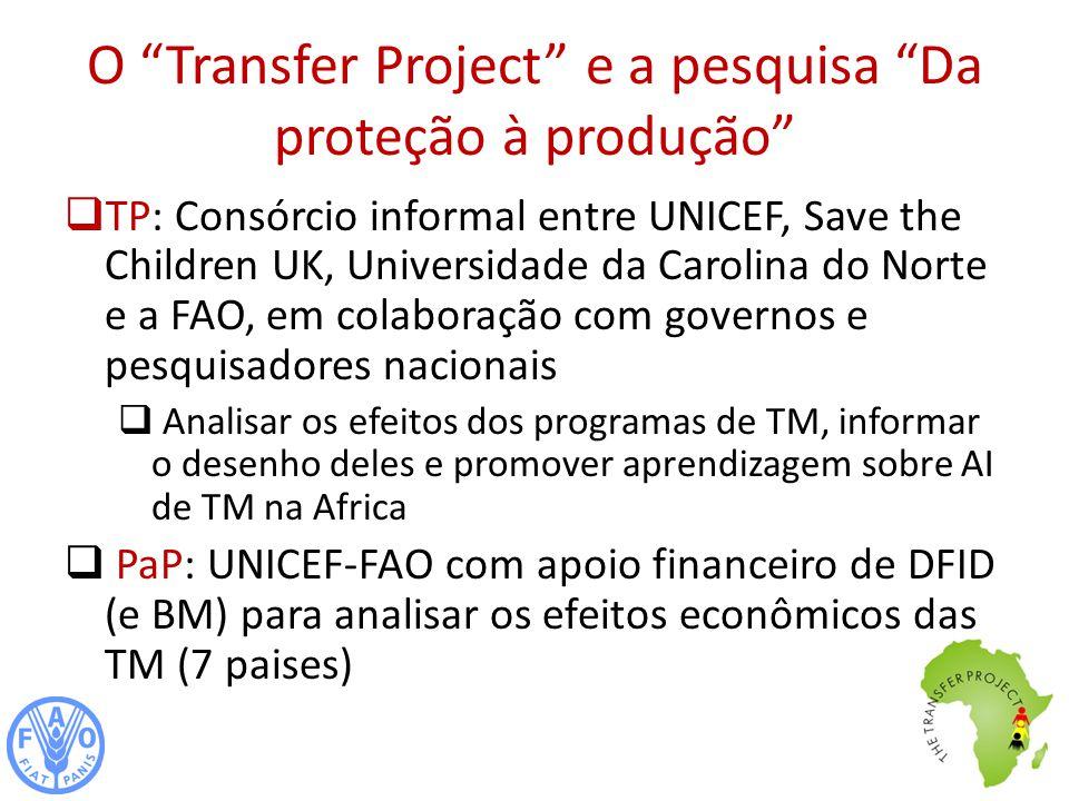 O Transfer Project e a pesquisa Da proteção à produção TP: Consórcio informal entre UNICEF, Save the Children UK, Universidade da Carolina do Norte e a FAO, em colaboração com governos e pesquisadores nacionais Analisar os efeitos dos programas de TM, informar o desenho deles e promover aprendizagem sobre AI de TM na Africa PaP: UNICEF-FAO com apoio financeiro de DFID (e BM) para analisar os efeitos econômicos das TM (7 paises)