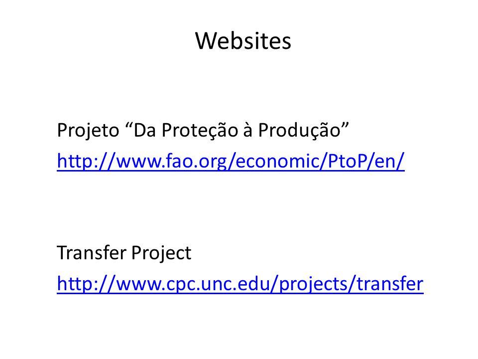 Websites Projeto Da Proteção à Produção http://www.fao.org/economic/PtoP/en/ Transfer Project http://www.cpc.unc.edu/projects/transfer