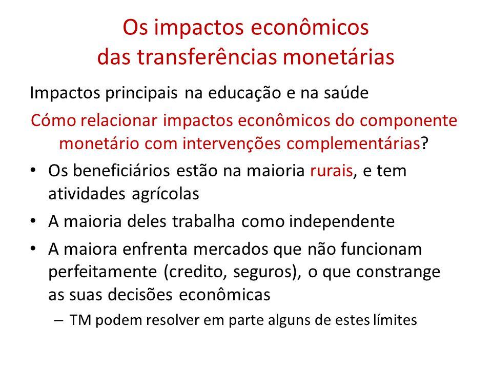 Os impactos econômicos das transferências monetárias Impactos principais na educação e na saúde Cómo relacionar impactos econômicos do componente monetário com intervenções complementárias.