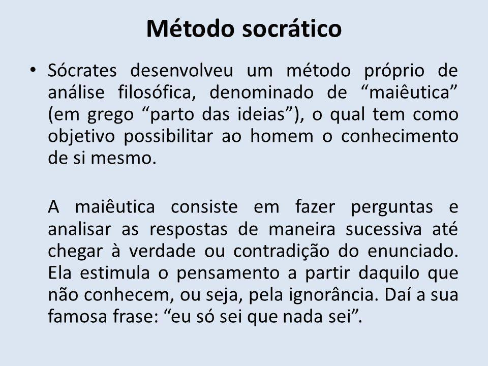 Método socrático Sócrates desenvolveu um método próprio de análise filosófica, denominado de maiêutica (em grego parto das ideias), o qual tem como ob