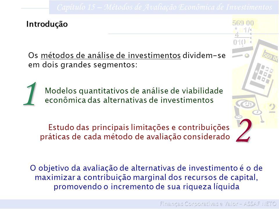 Capítulo 15 – Métodos de Avaliação Econômica de Investimentos 15.1Métodos de Análise de Investimentos A avaliação de um ativo é estabelecida pelos benefícios futuros esperados de caixa trazidos a valor presente mediante uma taxa de desconto que reflete o risco de decisão Os métodos quantitativos de análise econômica de investimentos podem ser classificados em dois grandes grupos: Os que não levam em conta o valor do dinheiro no tempo e Os que consideram essa variação por meio do critério do fluxo de caixa descontado.