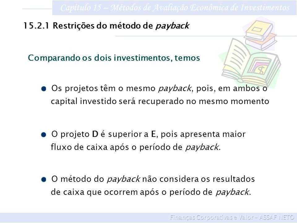 Capítulo 15 – Métodos de Avaliação Econômica de Investimentos Os projetos têm o mesmo payback, pois, em ambos o capital investido será recuperado no m