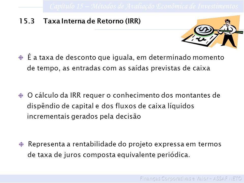 Capítulo 15 – Métodos de Avaliação Econômica de Investimentos 15.3Taxa Interna de Retorno (IRR) É a taxa de desconto que iguala, em determinado moment
