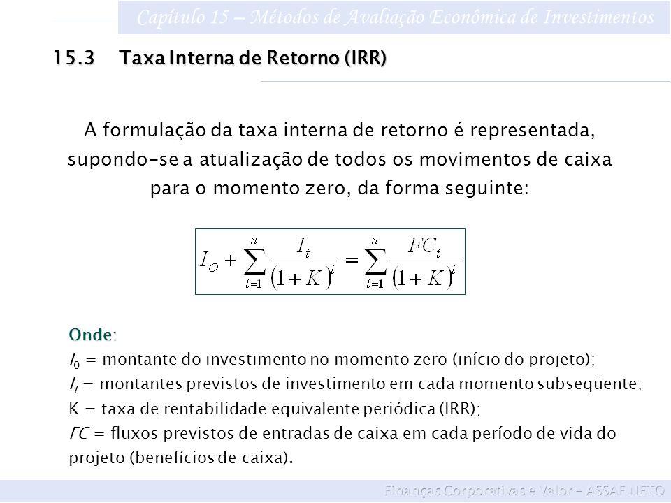 Capítulo 15 – Métodos de Avaliação Econômica de Investimentos 15.3Taxa Interna de Retorno (IRR) A formulação da taxa interna de retorno é representada