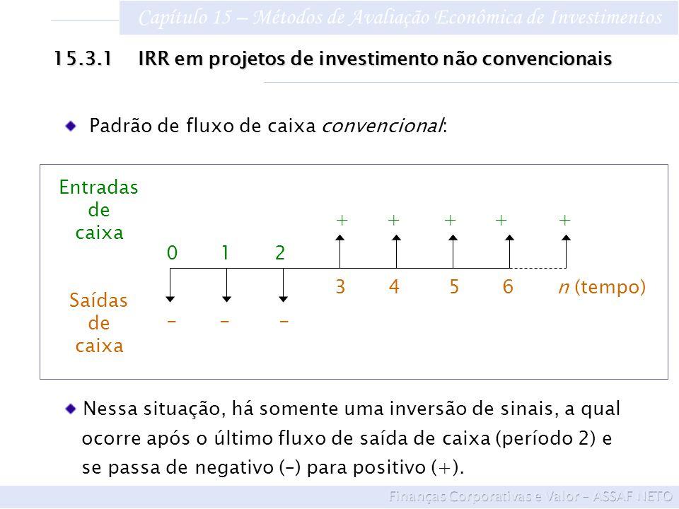 Capítulo 15 – Métodos de Avaliação Econômica de Investimentos 15.3.1 IRR em projetos de investimento não convencionais Padrão de fluxo de caixa conven