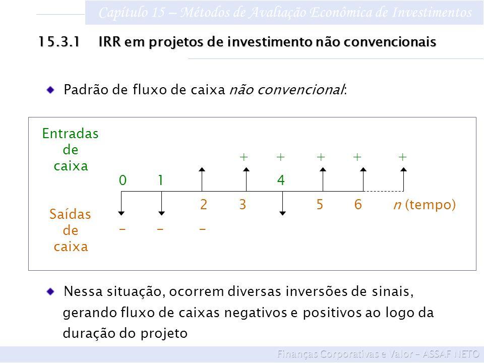 Capítulo 15 – Métodos de Avaliação Econômica de Investimentos 15.3.1 IRR em projetos de investimento não convencionais Padrão de fluxo de caixa não co