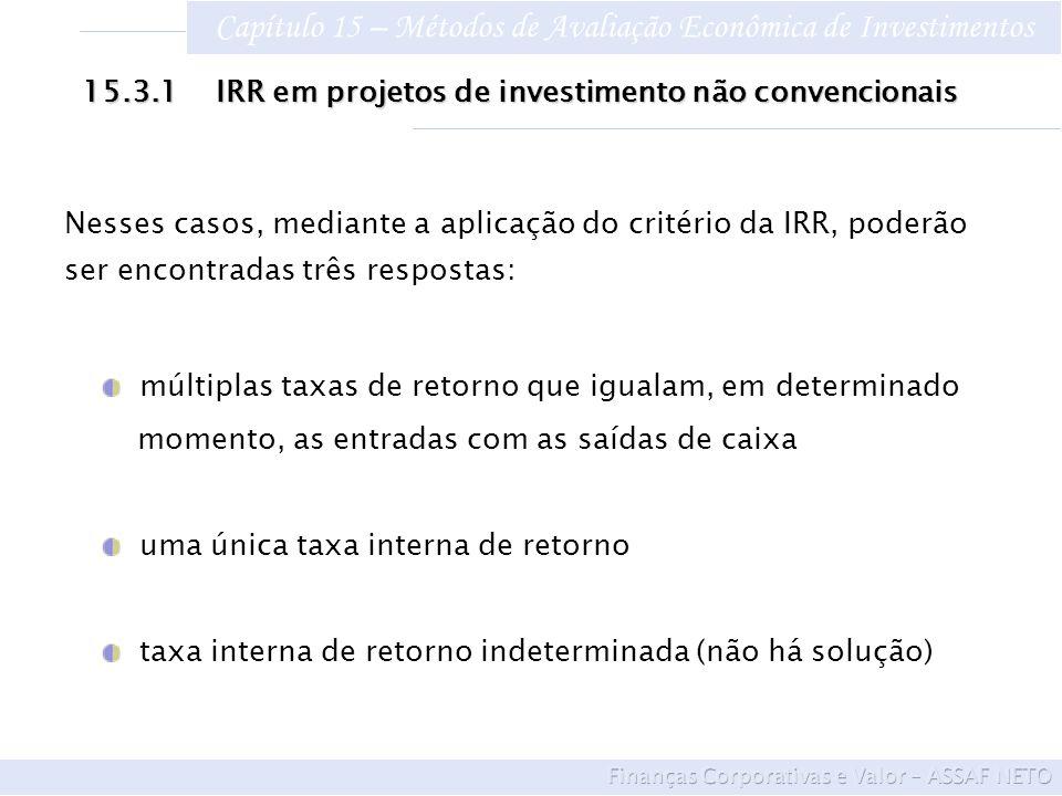 Capítulo 15 – Métodos de Avaliação Econômica de Investimentos múltiplas taxas de retorno que igualam, em determinado momento, as entradas com as saída