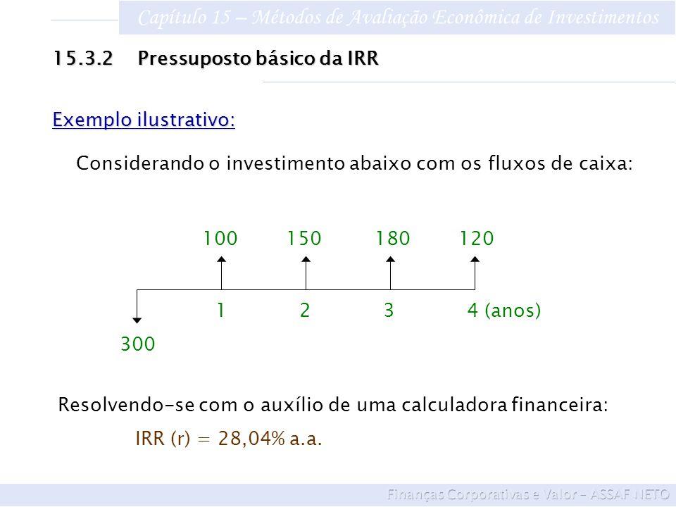 Capítulo 15 – Métodos de Avaliação Econômica de Investimentos 15.3.2 Pressuposto básico da IRR 100 150 180 120 1 2 3 4 (anos) 300 Exemplo ilustrativo:
