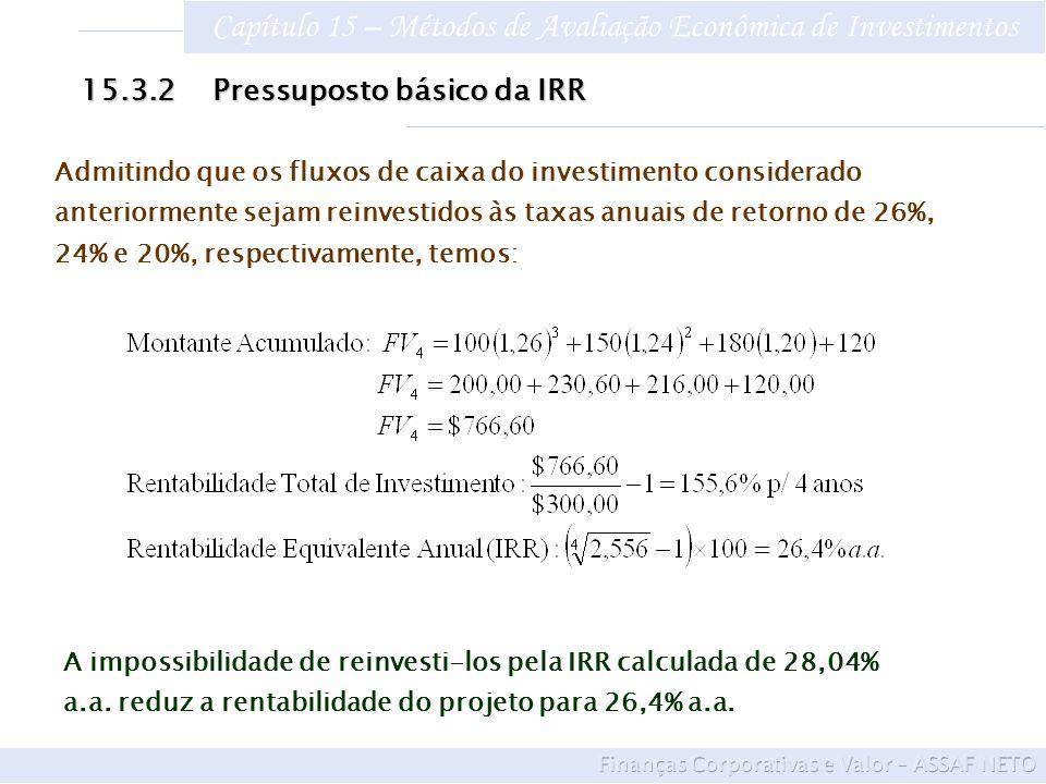 Capítulo 15 – Métodos de Avaliação Econômica de Investimentos A impossibilidade de reinvesti-los pela IRR calculada de 28,04% a.a. reduz a rentabilida