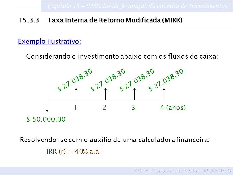 Capítulo 15 – Métodos de Avaliação Econômica de Investimentos 15.3.3 Taxa Interna de Retorno Modificada (MIRR) Exemplo ilustrativo: Considerando o inv