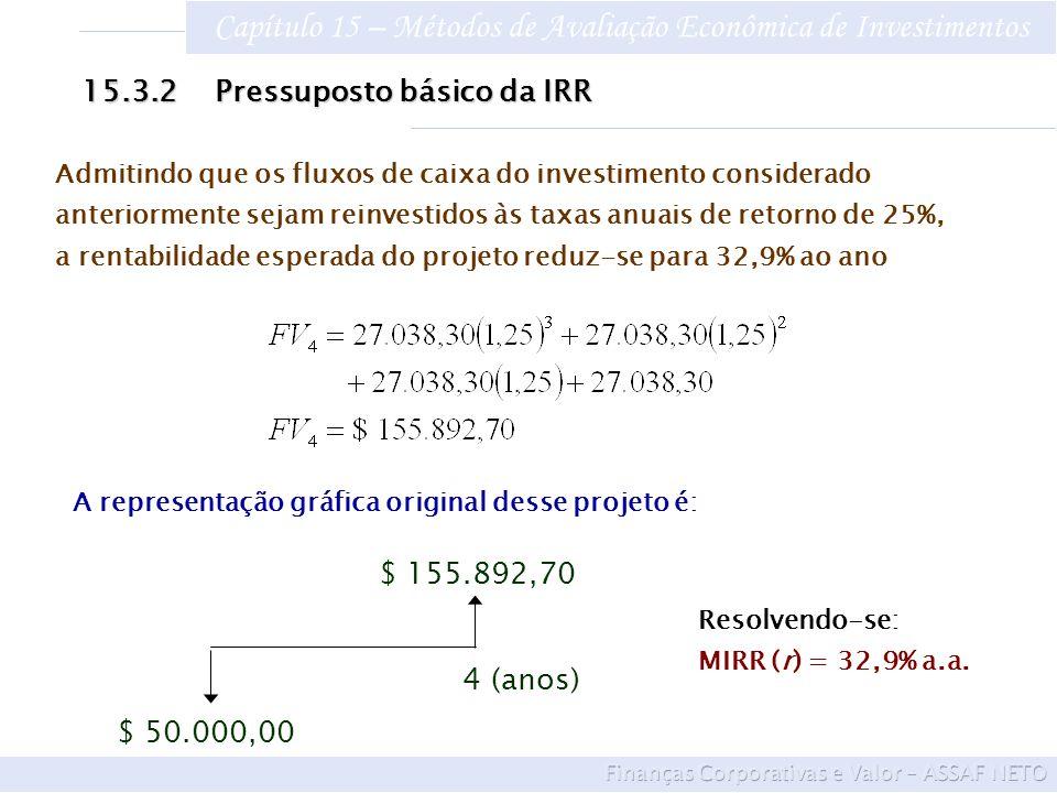 Capítulo 15 – Métodos de Avaliação Econômica de Investimentos Admitindo que os fluxos de caixa do investimento considerado anteriormente sejam reinves