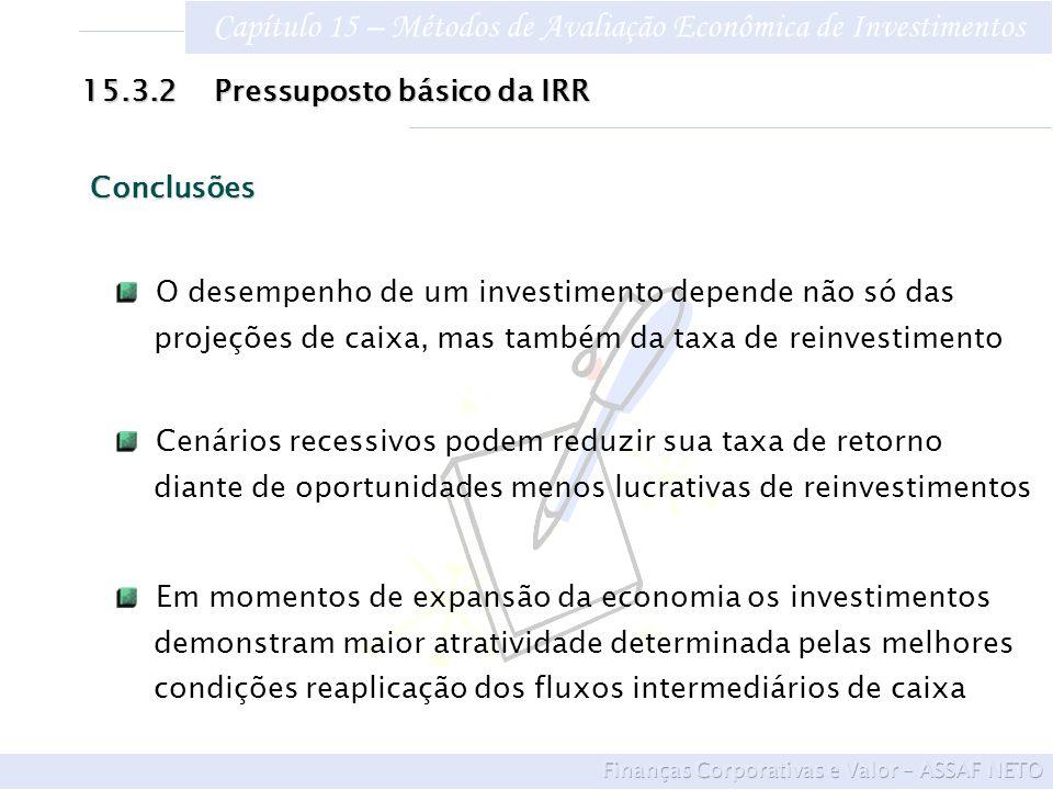 Capítulo 15 – Métodos de Avaliação Econômica de Investimentos 15.3.2 Pressuposto básico da IRR O desempenho de um investimento depende não só das proj